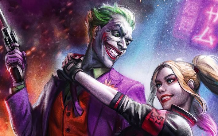Joker and Harley Quinn, 4k, 3D art, supervillains, DC Comics, Joker, Harley Quinn