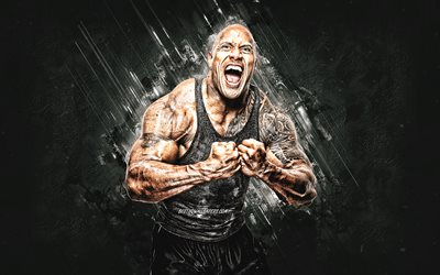 Dwayne Johnson, The Rock portrait, white stone background, creative art, American actor, Hollywood
