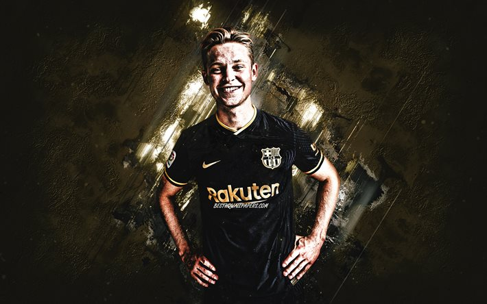 Download Wallpapers Frenkie De Jong Fc Barcelona Dutch Footballer Midfielder Portrait Gray Stone Background Football For Desktop Free Pictures For Desktop Free