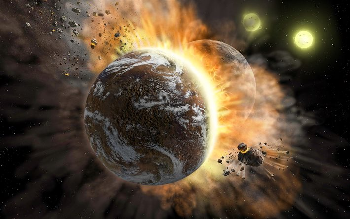collision of planets, apocalypse, planet explosion, asteroids, galaxy, sci-fi, NASA