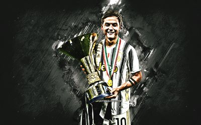 Paulo Dybala, Juventus FC, portrait, Argentine soccer player, Dybala with 2020 cup, Serie A trophy, football