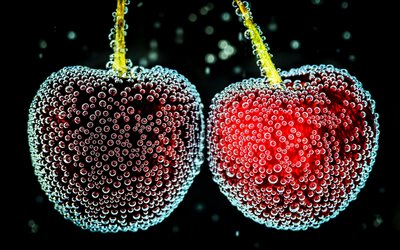 cherries underwater, bubbles, berries, fresh cherries, fruits, macro, cherries
