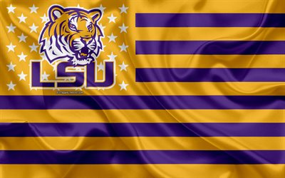 LSU Tigers, Amerikkalainen jalkapallo joukkue, luova Amerikan lippu, keltainen-violetti lippu, NCAA, Baton Rouge, Louisiana, USA, LSU Tigers logo, tunnus, silkki lippu, Amerikkalainen jalkapallo, Louisiana State University