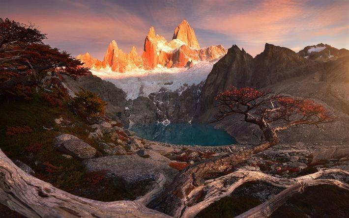 Scarica sfondi autunno montagna patagonia tramonto for Foto per desktop gratis autunno