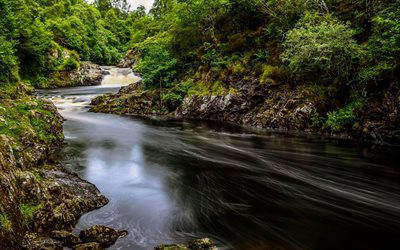 River Shin, forest, green trees, waterfall, Scotland, UK