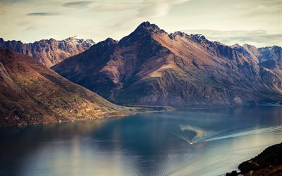 Lake Wakatipu, summer, mountains, Queenstown, New Zealand