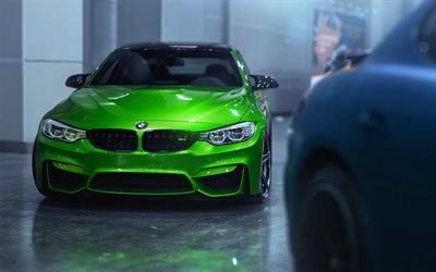 BMW M4, parking, F82, tuning, 2018 cars, supercars, green M4, german cars, BMW