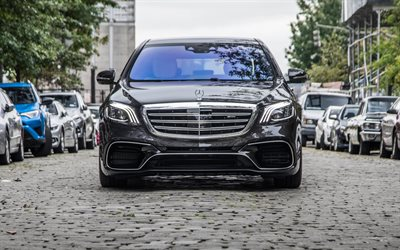 Mercedes-Benz S63 AMG, 2019, 4MATIC, front view, luxury sedan, new gray S-class, Mercedes-AMG