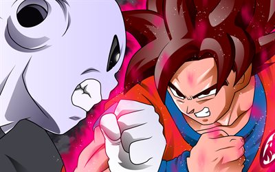 Jiren vs Goku, combat, Dragon Ball, les illustrations, les Super Saiyan Dieu, Jiren, DBS, Dragon Ball Super