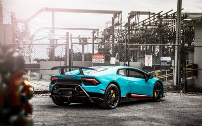 Lamborghini Huracan, 2018, Performante, blue supercar, rear view, tuning Huracan, black wheels, blue Huracan, Italian sports cars, Lamborghini