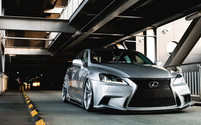Lexus IS, stance, tuning, parking, japanese cars, silver IS, Lexus