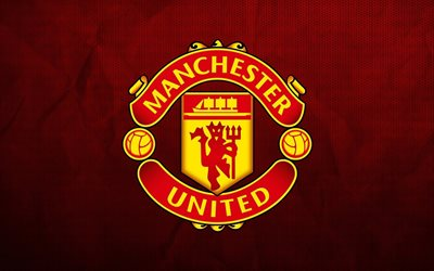 Manchester United FC, logo, emblem, creative red background, grunge style, art, NS, England, football, English football club