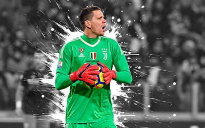 Wojciech Szczesny, 4k, art, Juventus FC, goalkeeper, Polish football player, splashes of paint, grunge art, creative art, Serie A, Italy, football