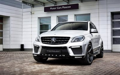 Mercedes-Benz GLE63 AMG, 2018, white luxury SUV, TOPCAR, tuning, exterior, black wheels, new white GLE63, German cars, Mercedes