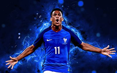 Anthony Martial, football stars, France National Team, fan art, Martial, soccer, footballers, FFF, neon lights, French football team
