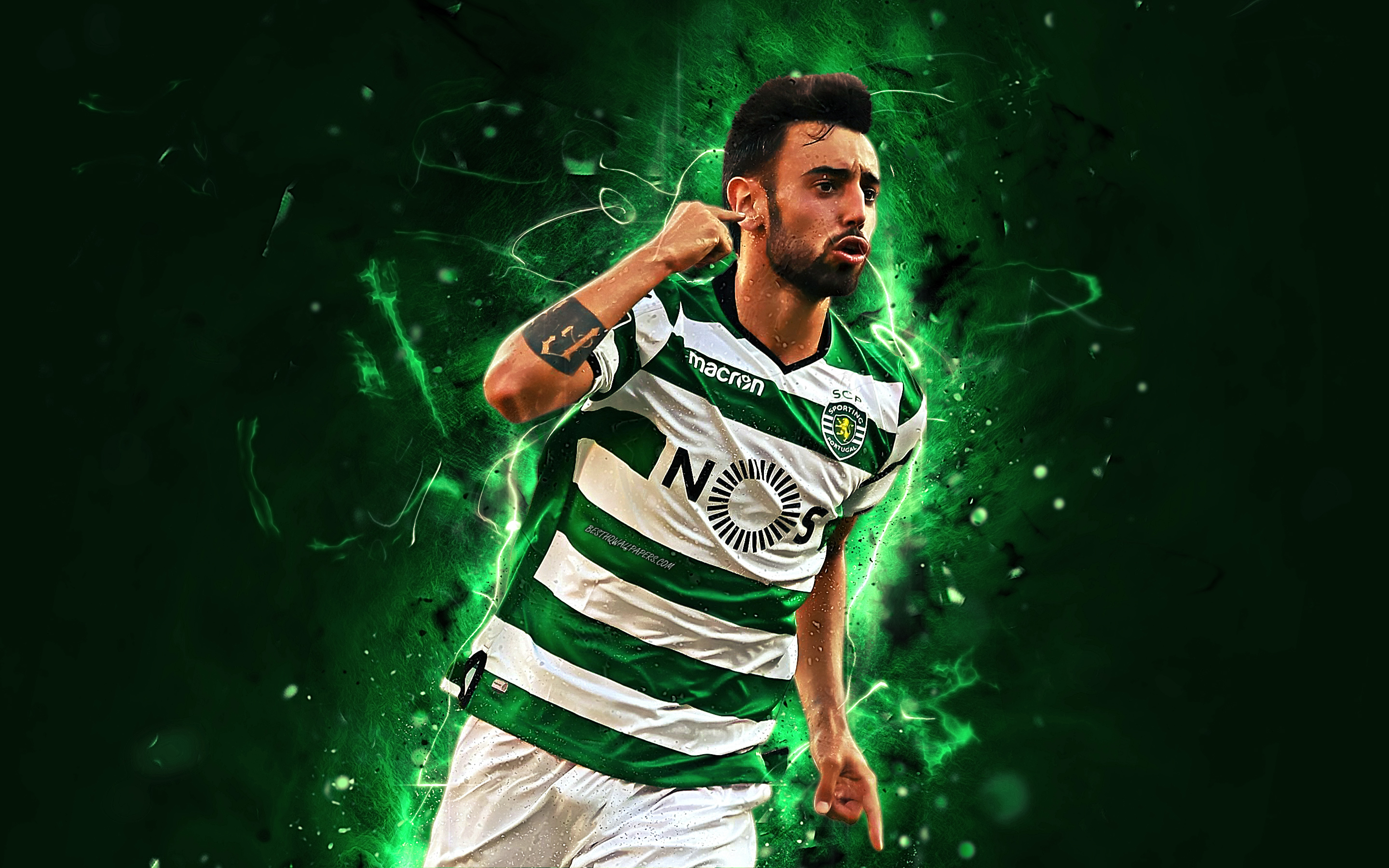 Download Wallpapers Bruno Fernandes, Goal, Abstract Art