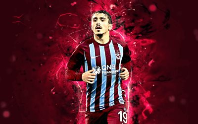 Abdulkadir Omur, Trabzonspor FC, turkish footballer, soccer, Turkish Super Lig, Omur, abstract art, football, neon lights