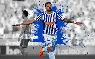 Willian Jose, 4k, art, Real Sociedad, Brazilian football player, splashes of paint, grunge art, creative art, La Liga, Spain, football