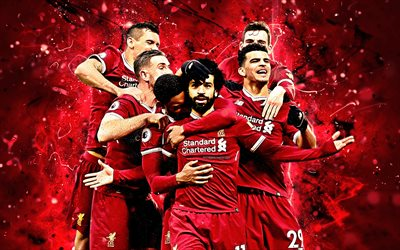 Mohamed Salah, Dominic Solanke, Daniel Sturridge, team, Liverpool, Egyptian footballer, soccer, Premier League, football stars, Salah, neon lights, LFC, Liverpool FC