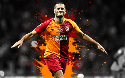 Eren Derdiyok, 4k, art, Galatasaray SK, forward, swiss football player, red orange splashes of paint, grunge art, Super League, Turkey, football
