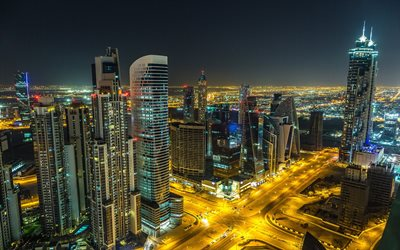 Dubai, skyscrapers, night, UAE, modern buildings, crossroads, modern city