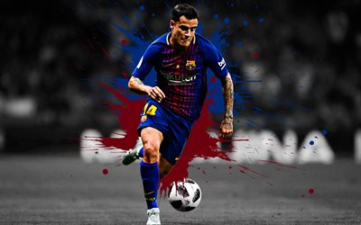 Philippe Coutinho, 4k, art, Barcelona FC, Brazilian football player, blue maroon splashes of paint, grunge art, creative art, La Liga, Spain, football
