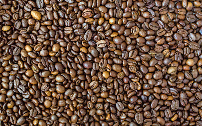 4k, coffee beans texture, arabica beans, natural coffee, close-up, coffee textures, coffee backgrounds, coffee beans, coffee, arabica