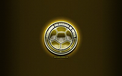 Colombian football team, glass logo, South America, Conmebol, yellow grunge background, Colombia National Football Team, soccer, FCF logo, football, Colombia
