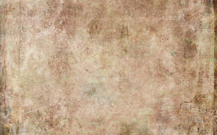 Download Wallpapers 4k Old Paper Texture Musical Notes