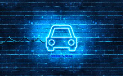 Car neon icon, 4k, blue background, neon symbols, Car, creative, neon icons, Car sign, transport signs, Car icon, transport icons