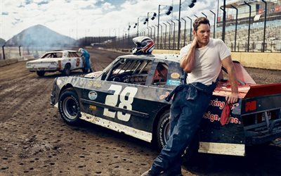 Chris Pratt, American actor, photoshoot, racing cars, popular actors