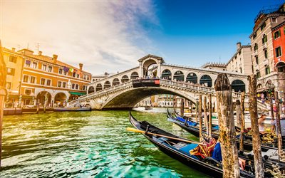 Rialto Bridge, Grand Canal, evening, sunset, Venice landmark, Venice cityscape, Venice, Italy