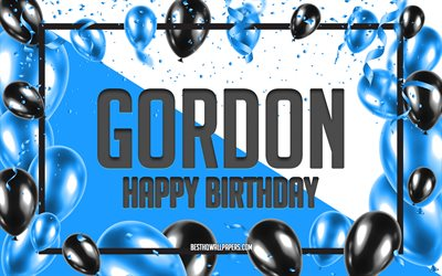 Happy Birthday Gordon, Birthday Balloons Background, Gordon, wallpapers with names, Gordon Happy Birthday, Blue Balloons Birthday Background, greeting card, Gordon Birthday