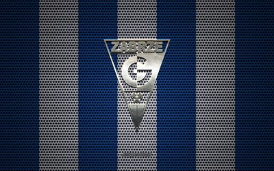 Gornik Zabrze logo, Polish football club, metal emblem, blue and white metal mesh background, Gornik Zabrze, Ekstraklasa, Zabrze, Poland, football