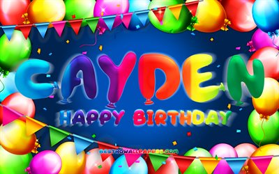 Happy Birthday Cayden, 4k, colorful balloon frame, Cayden name, blue background, Cayden Happy Birthday, Cayden Birthday, popular american male names, Birthday concept, Cayden