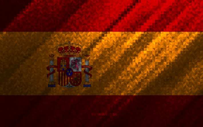 Flag of Spain, multicolored abstraction, Spain mosaic flag, Europe, Spain, mosaic art, Spain flag