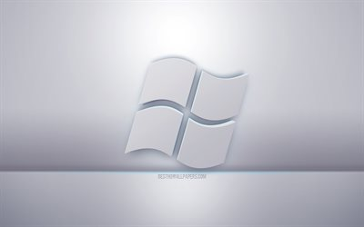 Windows 3d white logo, gray background, Windows logo, creative 3d art, Windows, 3d emblem