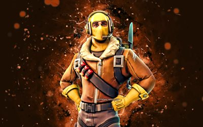 Raptor, 4k, brown neon lights, 2020 games, Fortnite Battle Royale, Fortnite characters, Raptor Skin, Fortnite, Raptor Fortnite
