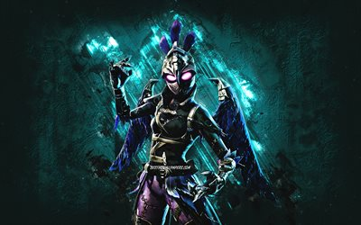 Fortnite Ravage Skin, Fortnite, main characters, blue stone background, Ravage, Fortnite skins, Ravage Skin, Ravage Fortnite, Fortnite characters