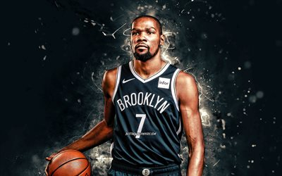 Kevin Durant, 4k, 2020, Brooklyn Nets, NBA, basketball, Kevin Wayne Durant, USA, Kevin Durant Brooklyn Nets, white neon lights, Kevin Durant 4K