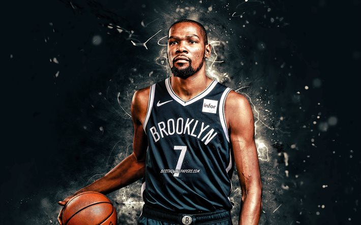 Kevin Durant, 4k, 2020, Brooklyn Nets, NBA, basket, Kevin Wayne Durant, USA, Kevin Durant Brooklyn Nets, luci al neon bianche, Kevin Durant 4K