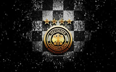 German football team, glitter logo, UEFA, Europe, black white checkered background, mosaic art, soccer, Germany National Football Team, DFB logo, football, Germany