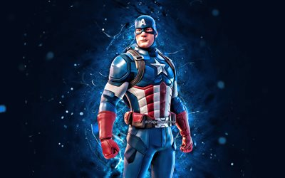 Captain America, 4k, blue neon lights, 2020 games, Fortnite Battle Royale, Fortnite characters, Captain America Skin, Fortnite, Captain America Fortnite