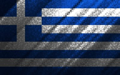 Flag of Greece, multicolored abstraction, Greece mosaic flag, Europe, Greece, mosaic art, Greece flag