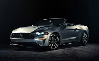 Ford Mustang, 2017, Convertible, silver Mustang, sports car, Ford