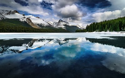 Maligne Lake, forest, mountains, Jasper, Canada, Alberta, Canadian Rockies