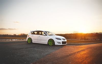 Mazda 3, white, tuning Mazda, green wheels, sunset, tuning Mazda 3
