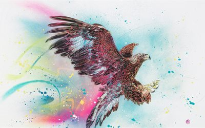 eagle, 5k, art, creative, spray paint