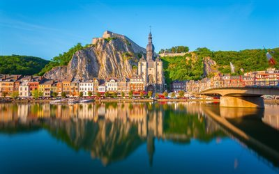 Dinant, summer, river, evening, bridge, Belgium