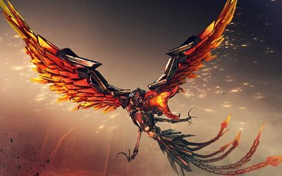 phoenix, 5K, fire birds, crossfire, art